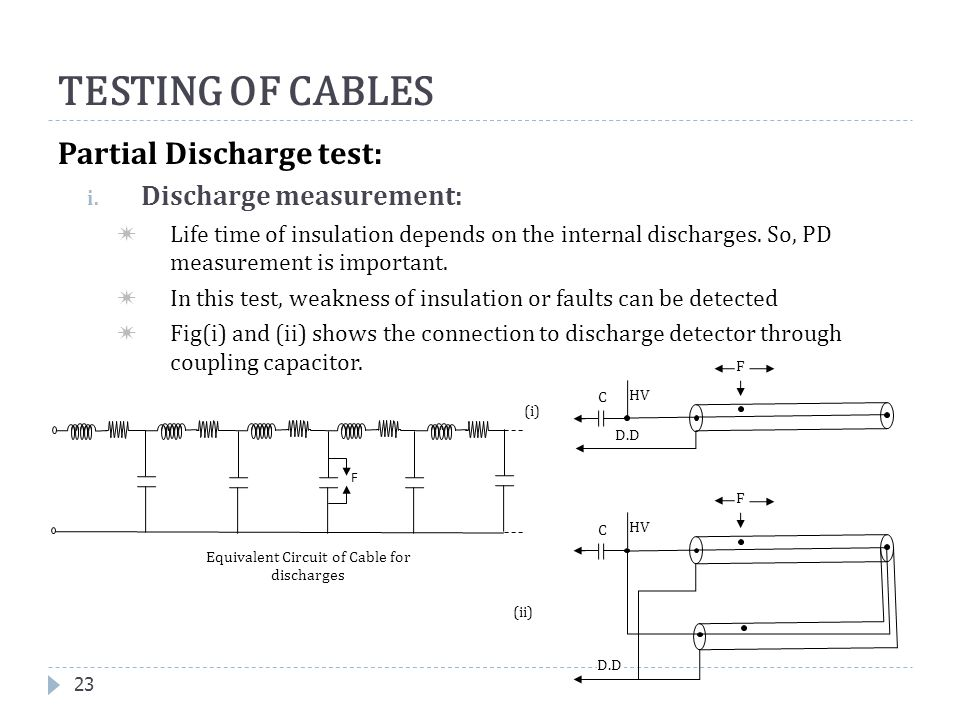 Partial Discharge test: i. Discharge measurement:  Life time of insulation depends on the internal discharges. So, PD measurement is important.  In