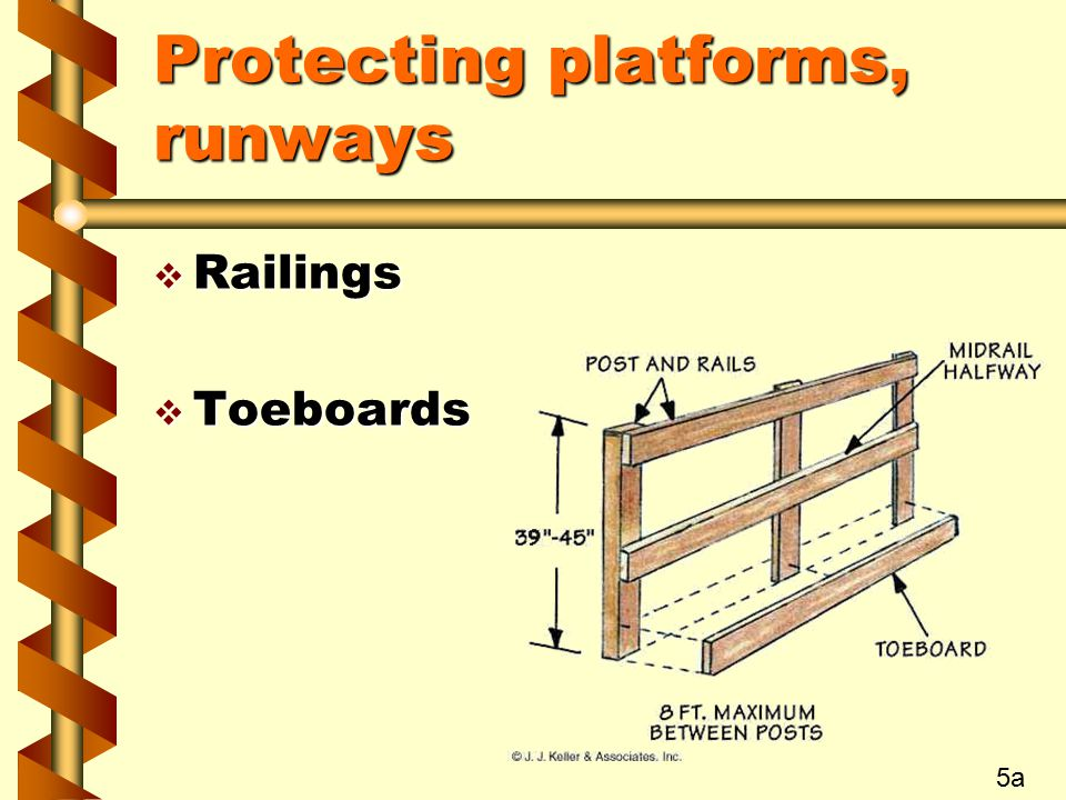 Protecting platforms, runways  Railings  Toeboards 5a