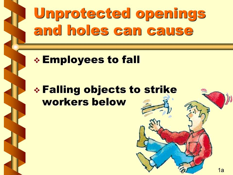 Unprotected openings and holes can cause  Employees to fall  Falling objects to strike workers below 1a