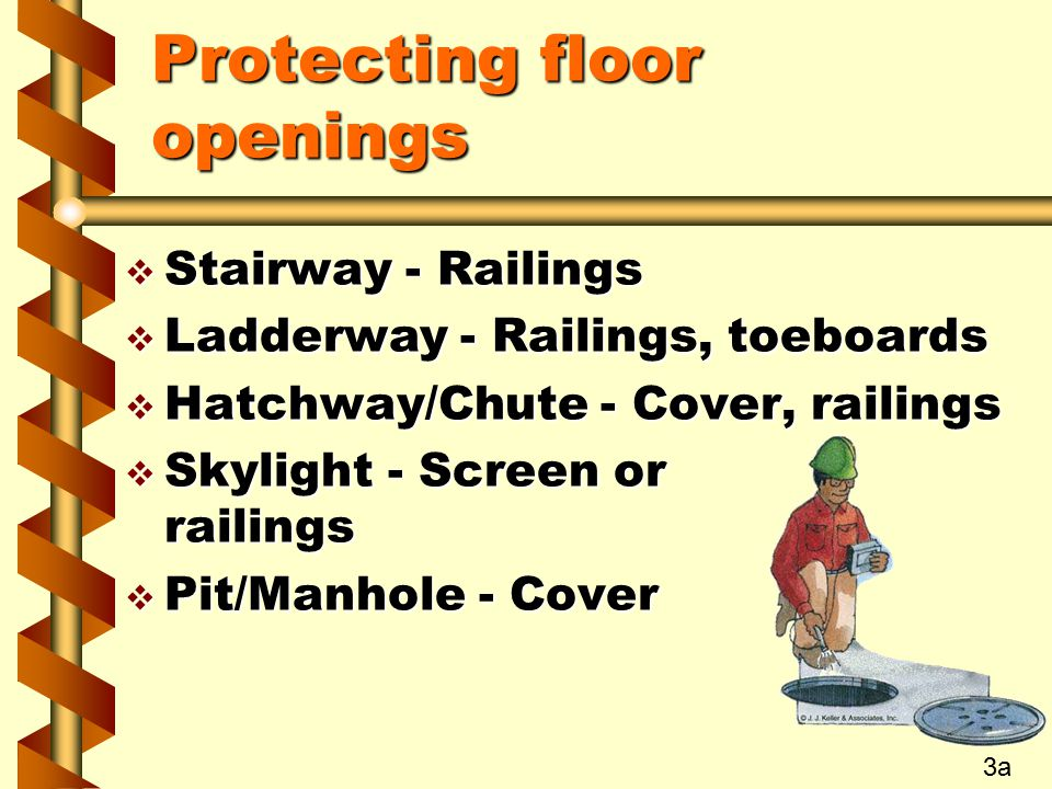 Protecting floor openings  Stairway - Railings  Ladderway - Railings, toeboards  Hatchway/Chute - Cover, railings  Skylight - Screen or railings  Pit/Manhole - Cover 3a