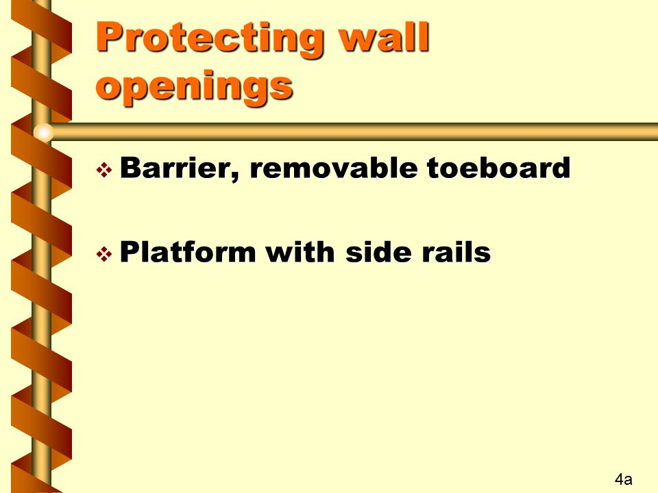 Protecting wall openings  Barrier, removable toeboard  Platform with side rails 4a