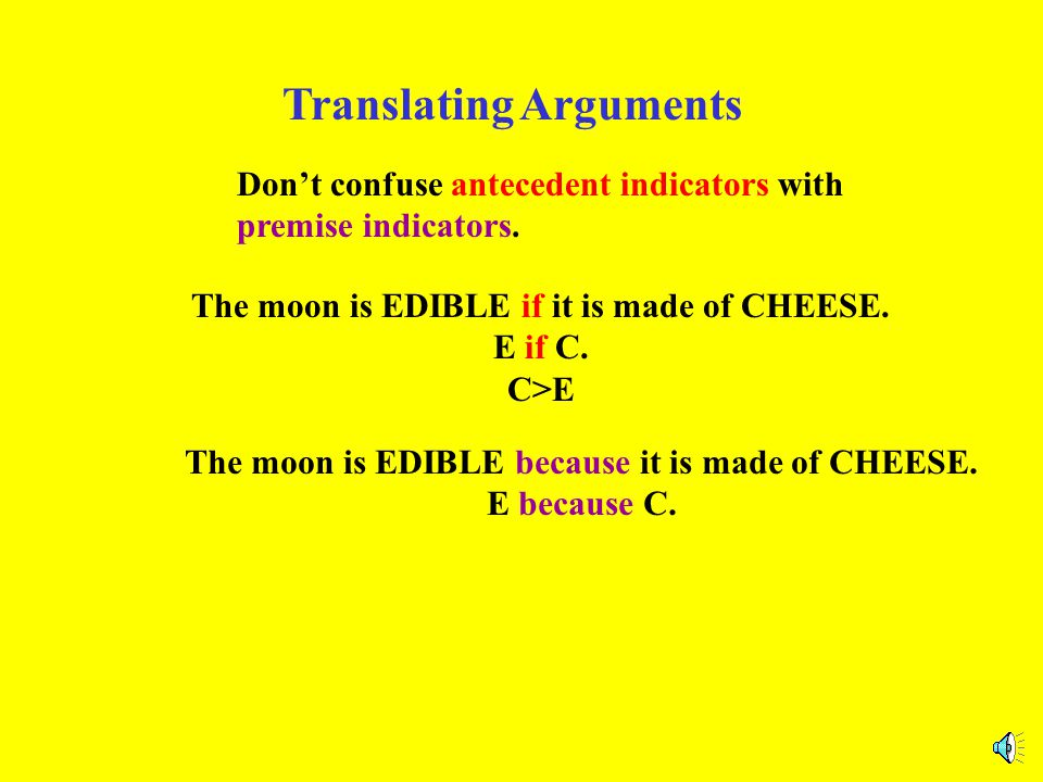 Translating Arguments Don't confuse antecedent indicators with premise indicators. The moon is EDIBLE if it is made of CHEESE. E if C. C>E