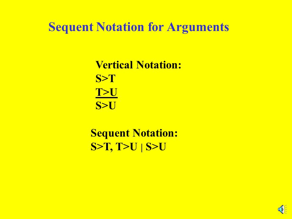 Notation for Arguments Vertical Notation: S>T T>U S>U