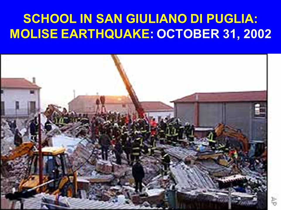 SCHOOL IN SAN GIULIANO DI PUGLIA: MOLISE EARTHQUAKE: OCTOBER 31, 2002