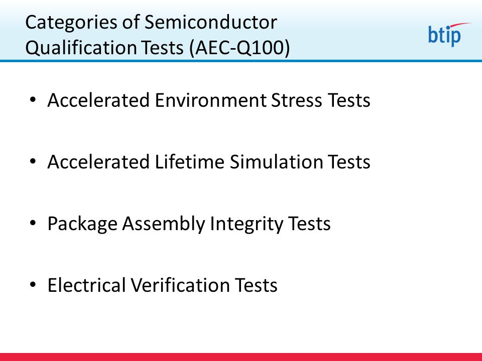 Categories of Semiconductor Qualification Tests (AEC-Q100) Accelerated Environment Stress Tests Accelerated Lifetime Simulation Tests Package Assembly Integrity Tests Electrical Verification Tests