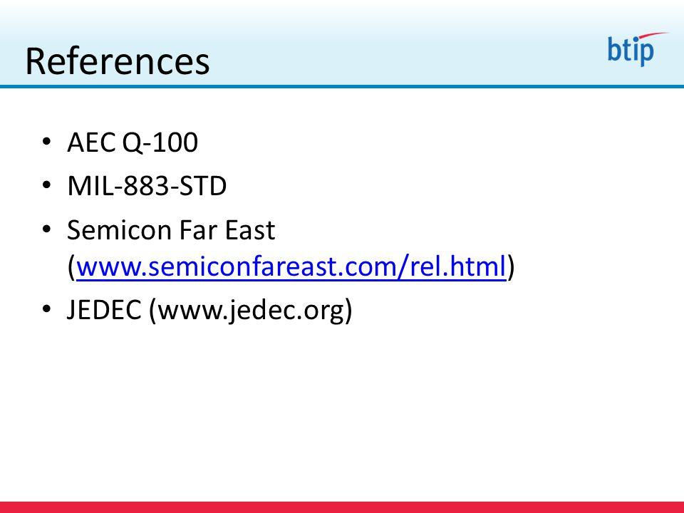 References AEC Q-100 MIL-883-STD Semicon Far East (www.semiconfareast.com/rel.html)www.semiconfareast.com/rel.html JEDEC (www.jedec.org)