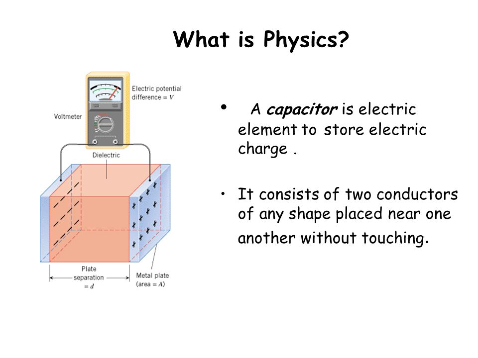 What is Physics? A capacitor is electric element to store electric charge. It consists of two conductors of any shape placed near one another without
