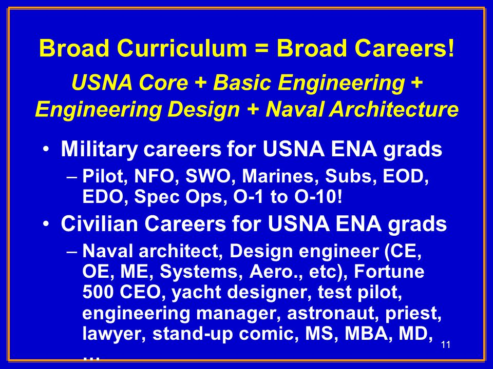 11 Broad Curriculum = Broad Careers.