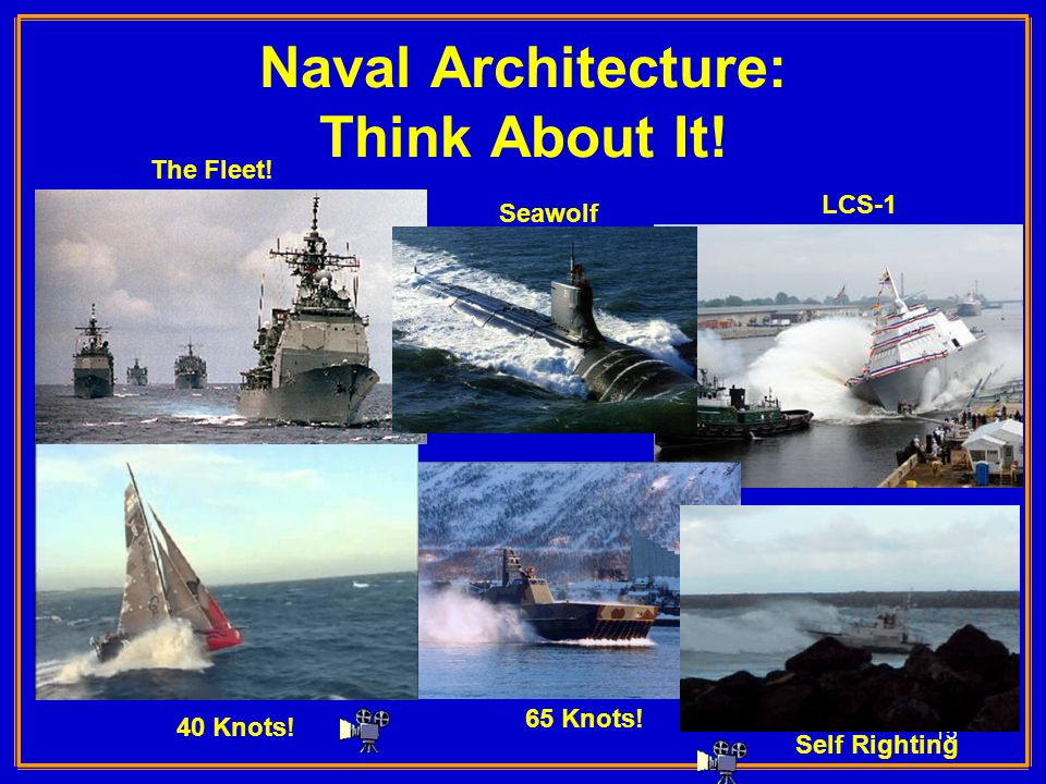 15 Naval Architecture: Think About It! Seawolf LCS-1 40 Knots! 65 Knots! Self Righting The Fleet!