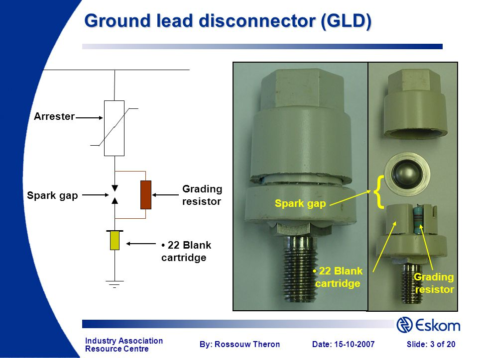 Industry Association Resource Centre By: Rossouw TheronDate: 15-10-2007Slide: 3 of 20 Arrester Grading resistor Spark gap { Ground lead disconnector (