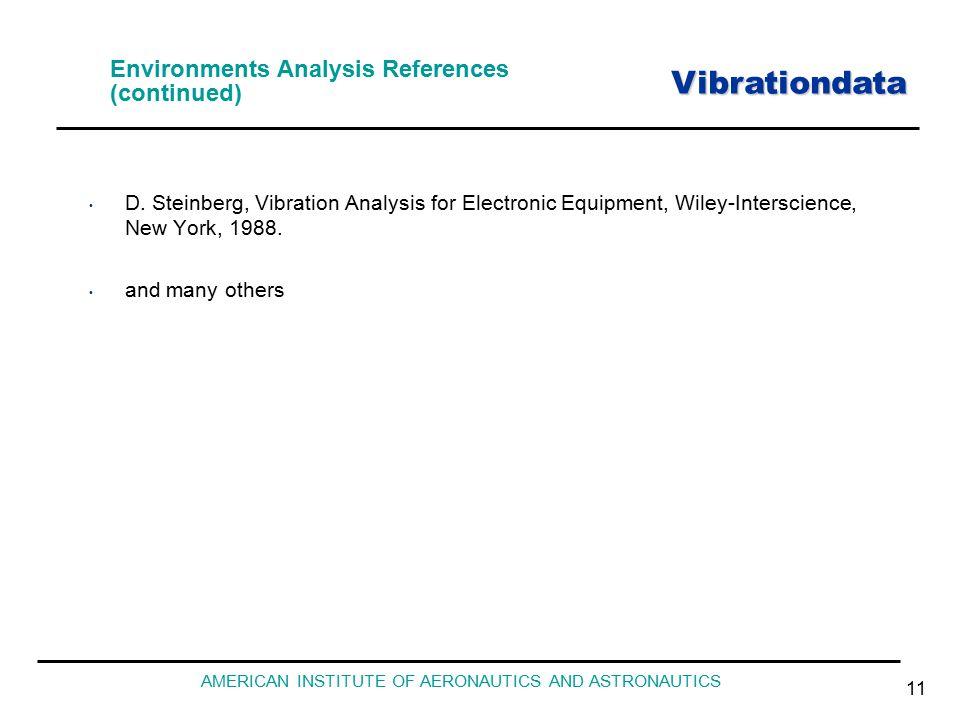 Vibrationdata AMERICAN INSTITUTE OF AERONAUTICS AND ASTRONAUTICS 11 Environments Analysis References (continued) D.