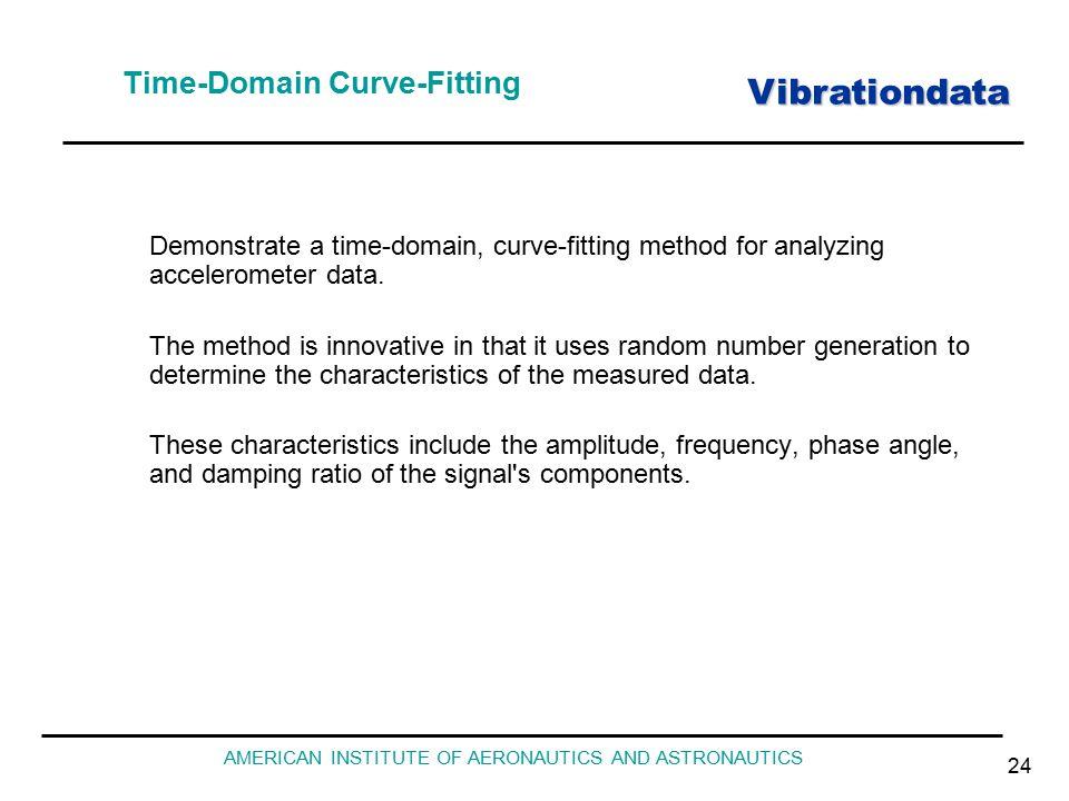Vibrationdata AMERICAN INSTITUTE OF AERONAUTICS AND ASTRONAUTICS 24 Time-Domain Curve-Fitting Demonstrate a time-domain, curve-fitting method for analyzing accelerometer data.