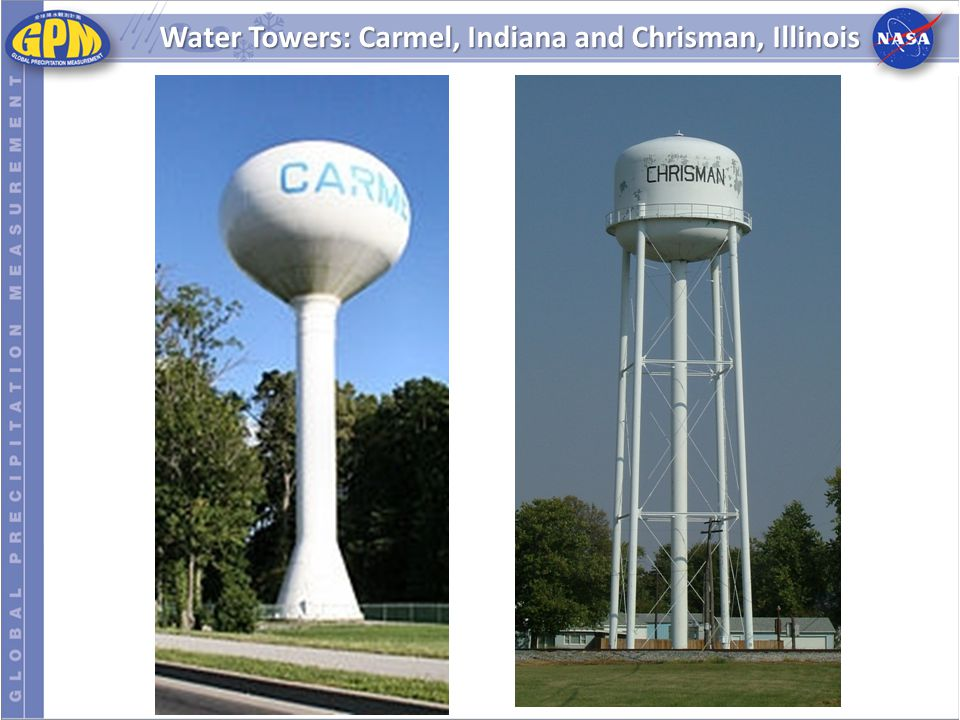 Water Towers: Carmel, Indiana and Chrisman, Illinois