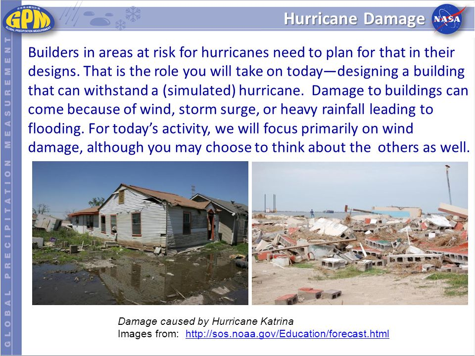 Hurricane Damage Builders in areas at risk for hurricanes need to plan for that in their designs.