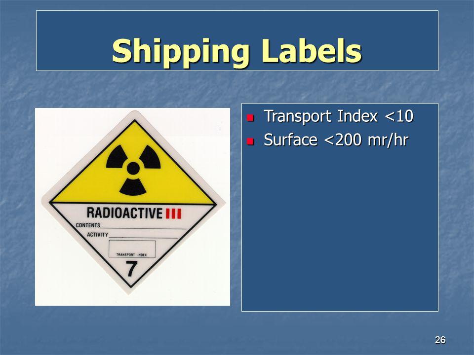 26 Shipping Labels Transport Index <10 Transport Index <10 Surface <200 mr/hr Surface <200 mr/hr