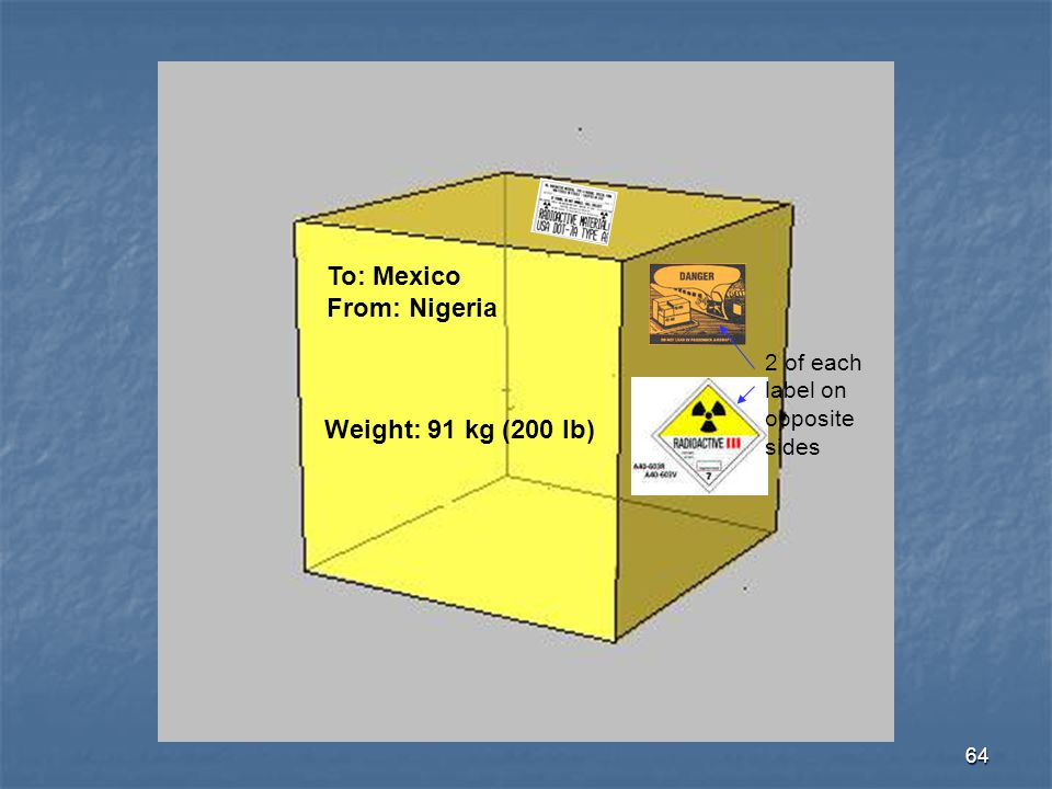 64 To: Mexico From: Nigeria Weight: 91 kg (200 lb) 2 of each label on opposite sides