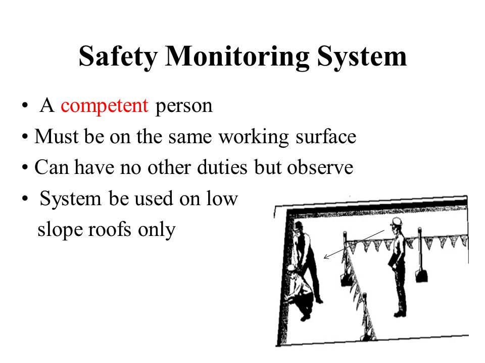 Safety Monitoring System A competent person Must be on the same working surface Can have no other duties but observe System be used on low slope roofs only