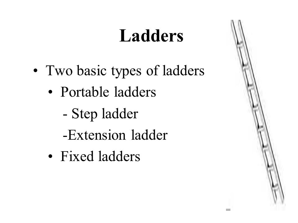 Ladders Two basic types of ladders Portable ladders - Step ladder -Extension ladder Fixed ladders
