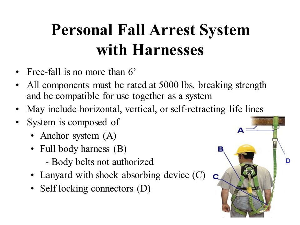 Personal Fall Arrest System with Harnesses Free-fall is no more than 6' All components must be rated at 5000 lbs.