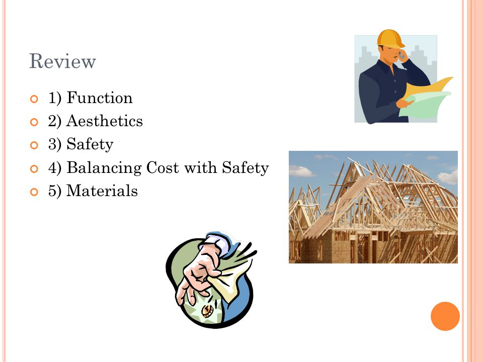 Review 1) Function 2) Aesthetics 3) Safety 4) Balancing Cost with Safety 5) Materials
