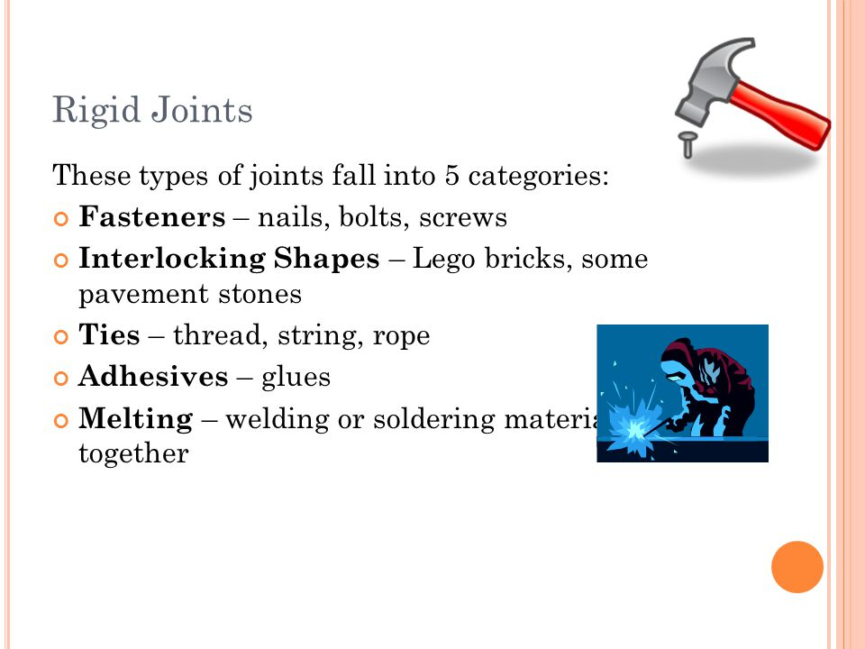 Rigid Joints These types of joints fall into 5 categories: Fasteners – nails, bolts, screws Interlocking Shapes – Lego bricks, some pavement stones Ti