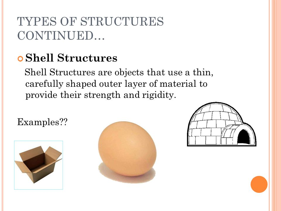 TYPES OF STRUCTURES CONTINUED… Shell Structures Shell Structures are objects that use a thin, carefully shaped outer layer of material to provide thei