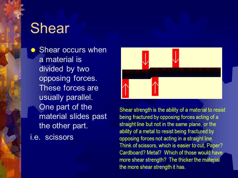 Shear  Shear occurs when a material is divided by two opposing forces. These forces are usually parallel. One part of the material slides past the ot