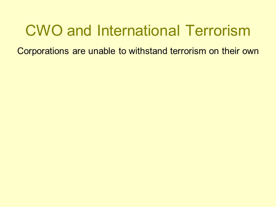 CWO and International Terrorism Corporations are unable to withstand terrorism on their own