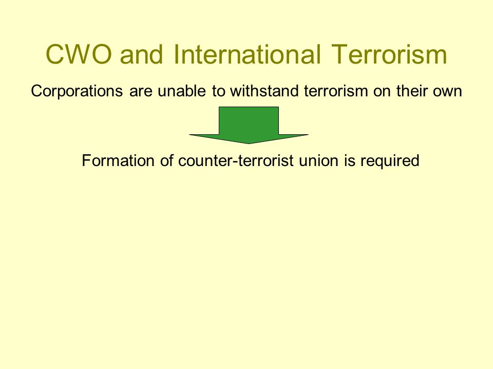 CWO and International Terrorism Corporations are unable to withstand terrorism on their own Formation of counter-terrorist union is required