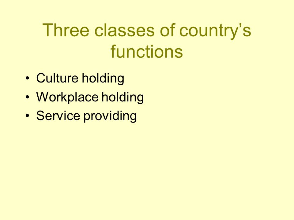 Three classes of country's functions Culture holding Long history of emigration proven, that people are real culture holders, not the state or the country