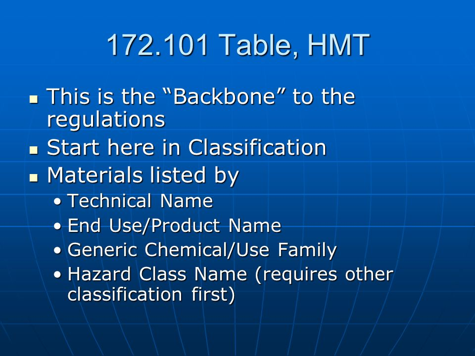 172.101 Table, HMT This is the Backbone to the regulations This is the Backbone to the regulations Start here in Classification Start here in Classification Materials listed by Materials listed by Technical NameTechnical Name End Use/Product NameEnd Use/Product Name Generic Chemical/Use FamilyGeneric Chemical/Use Family Hazard Class Name (requires other classification first)Hazard Class Name (requires other classification first)