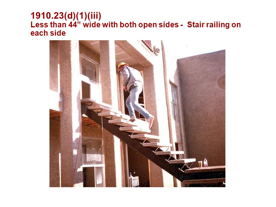 """1910.23(d)(1)(iii) Less than 44"""" wide with both open sides - Stair railing on each side"""