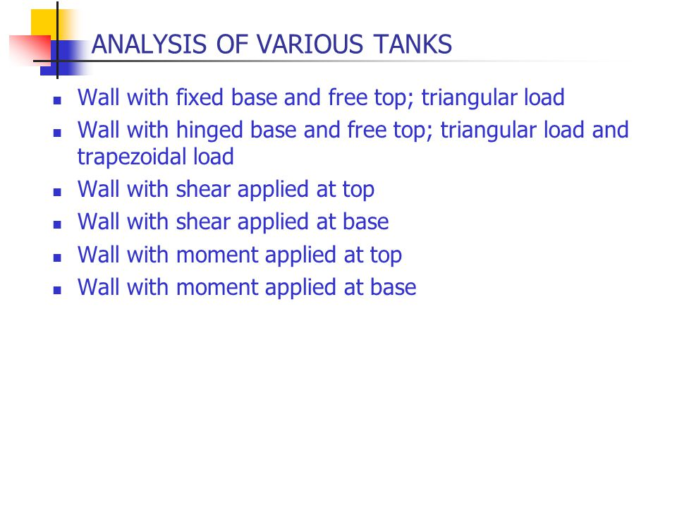 ANALYSIS OF VARIOUS TANKS Wall with fixed base and free top; triangular load Wall with hinged base and free top; triangular load and trapezoidal load