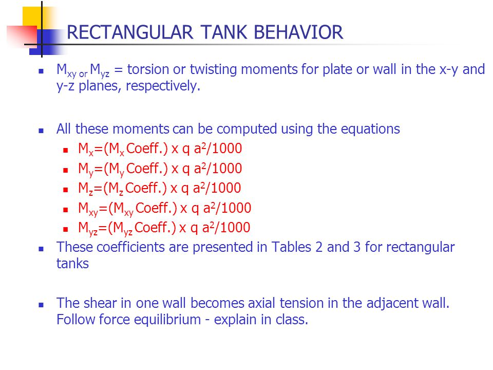 RECTANGULAR TANK BEHAVIOR M xy or M yz = torsion or twisting moments for plate or wall in the x-y and y-z planes, respectively. All these moments can