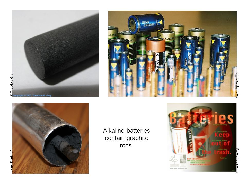 by-nc-sa: tomblois State of California Alkaline batteries contain graphite rods.