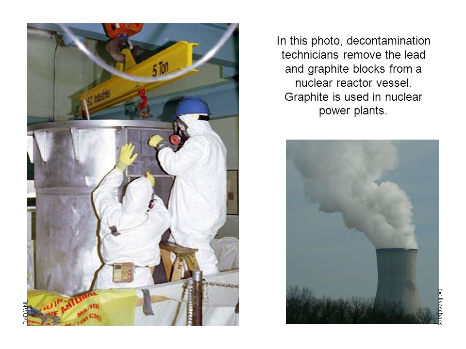 DoD/ANL In this photo, decontamination technicians remove the lead and graphite blocks from a nuclear reactor vessel.