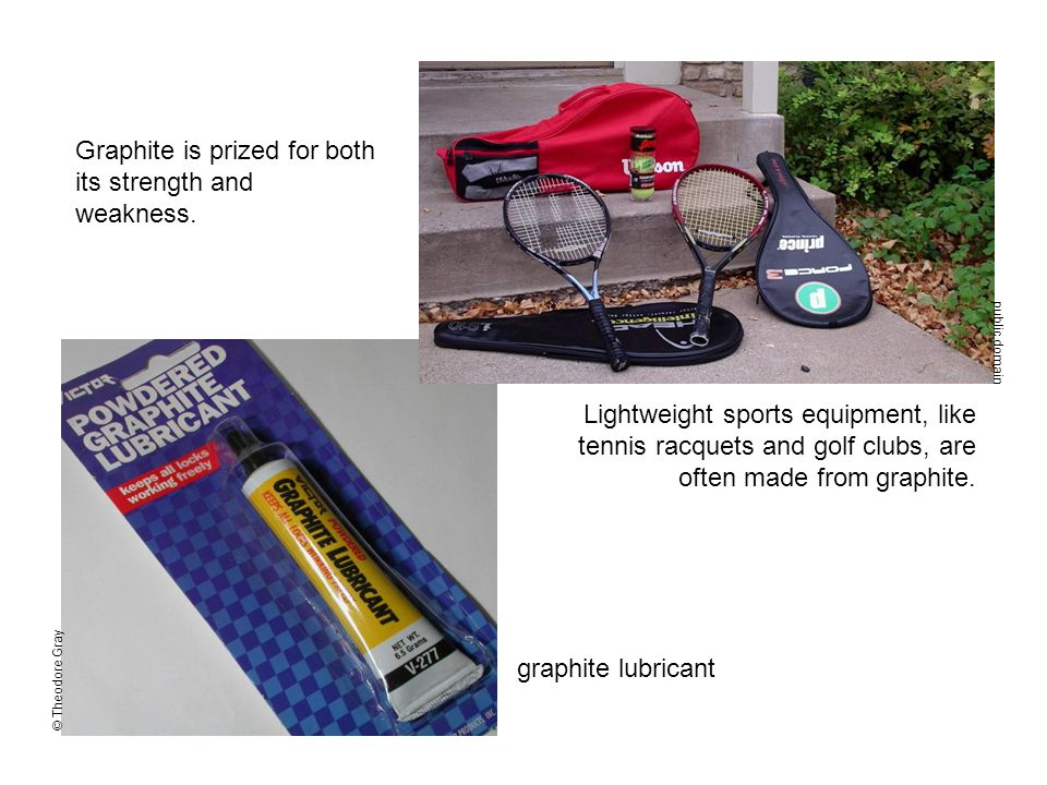 public domain Lightweight sports equipment, like tennis racquets and golf clubs, are often made from graphite.