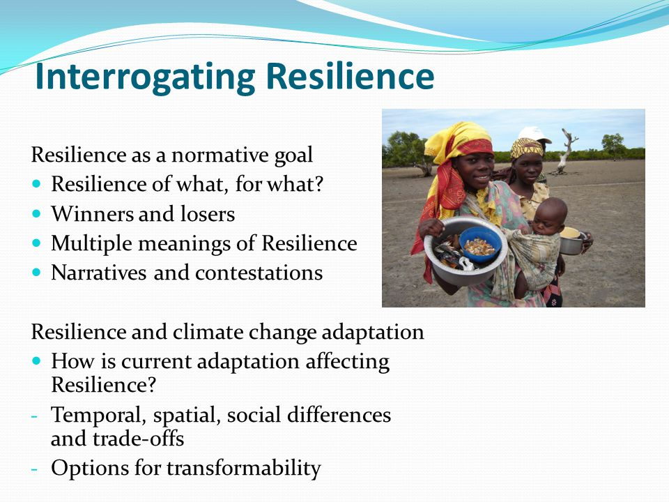 Interrogating Resilience Resilience as a normative goal Resilience of what, for what.