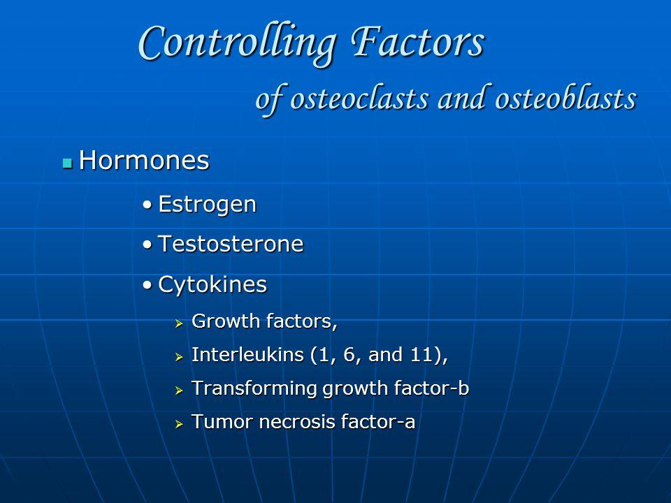 Controlling Factors Controlling Factors Hormones Hormones EstrogenEstrogen TestosteroneTestosterone CytokinesCytokines  Growth factors,  Interleukins (1, 6, and 11),  Transforming growth factor-b  Tumor necrosis factor-a of osteoclasts and osteoblasts