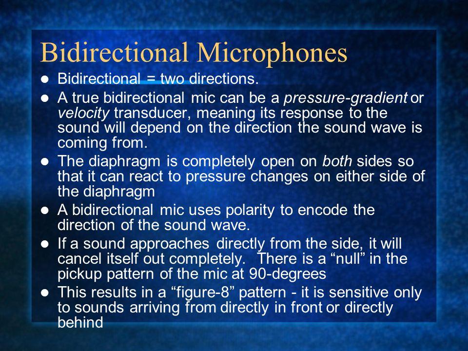 Bidirectional Microphones Bidirectional = two directions.