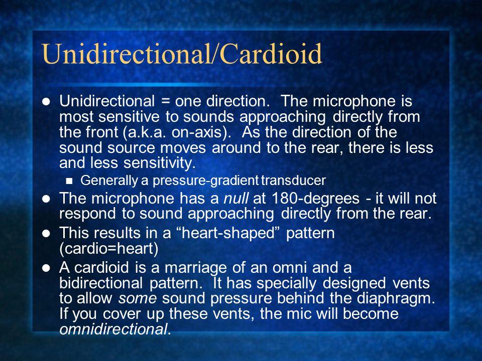 Unidirectional/Cardioid Unidirectional = one direction.