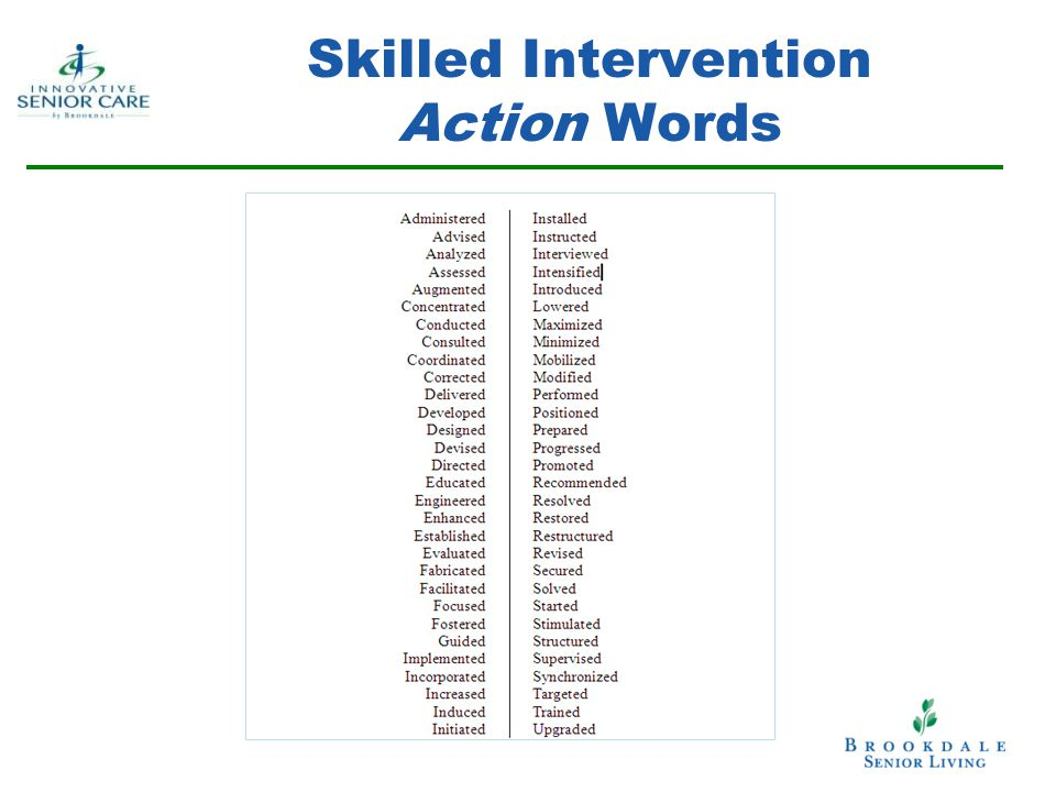 Skilled Intervention Action Words