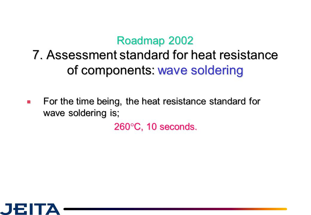 Roadmap 2002 7. Assessment standard for heat resistance of components: wave soldering ■ For the time being, the heat resistance standard for wave sold