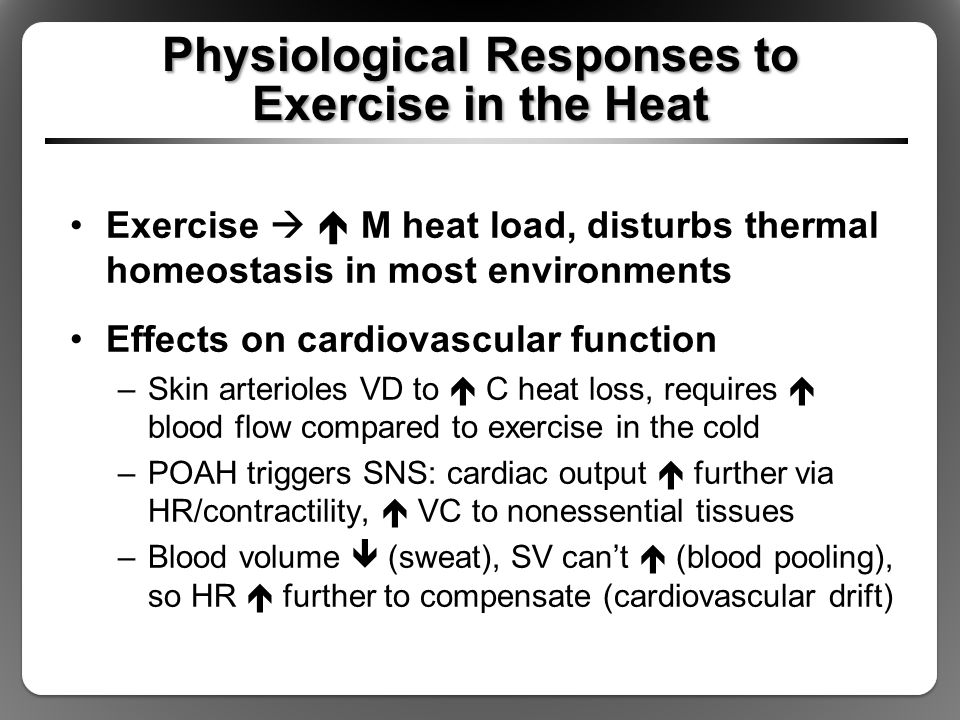 Health Risks: Heat Exhaustion Accompanied by fatigue; dizziness; nausea; vomiting; fainting; weak, rapid pulse Caused by severe dehydration from sweating Simultaneous blood flow needs of muscle and skin not met due to low blood volume Thermoregulatory mechanisms functional but overwhelmed