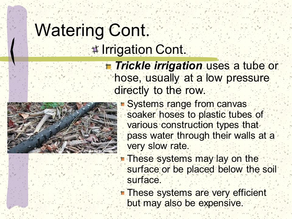 Watering Cont. Irrigation Cont. Trickle irrigation uses a tube or hose, usually at a low pressure directly to the row. Systems range from canvas soake