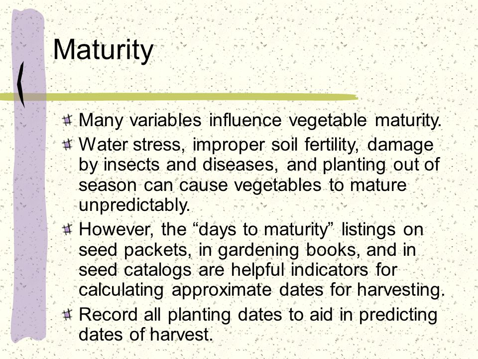 Maturity Many variables influence vegetable maturity. Water stress, improper soil fertility, damage by insects and diseases, and planting out of seaso
