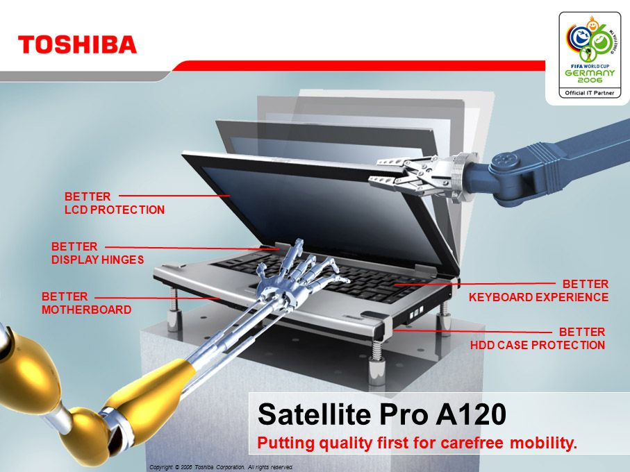 BETTER LCD PROTECTION BETTER DISPLAY HINGES BETTER MOTHERBOARD BETTER KEYBOARD EXPERIENCE BETTER HDD CASE PROTECTION Satellite Pro A120 Putting quality first for carefree mobility.