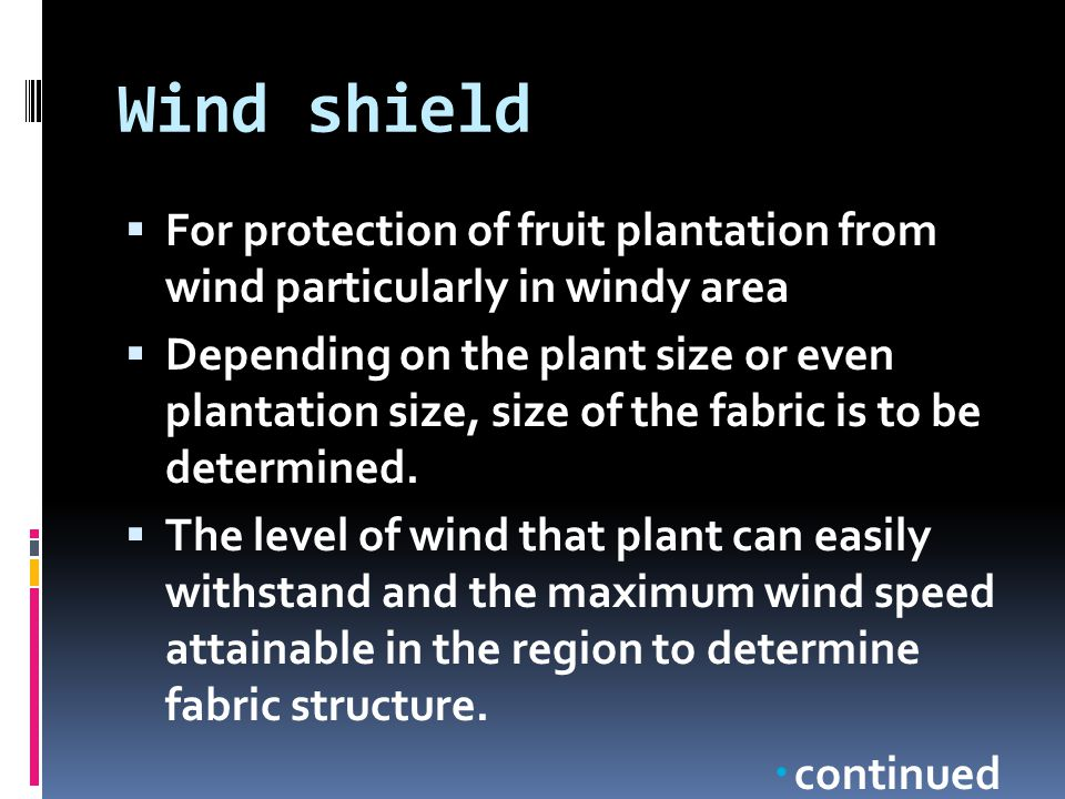 Wind shield  For protection of fruit plantation from wind particularly in windy area  Depending on the plant size or even plantation size, size of t