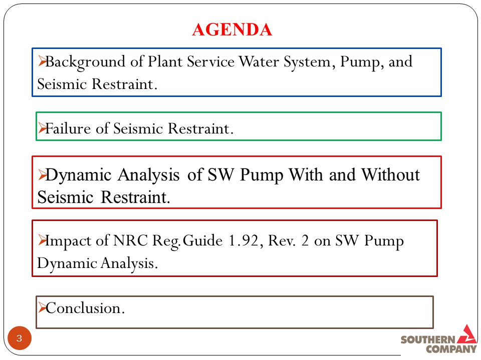 AGENDA 3  Background of Plant Service Water System, Pump, and Seismic Restraint.