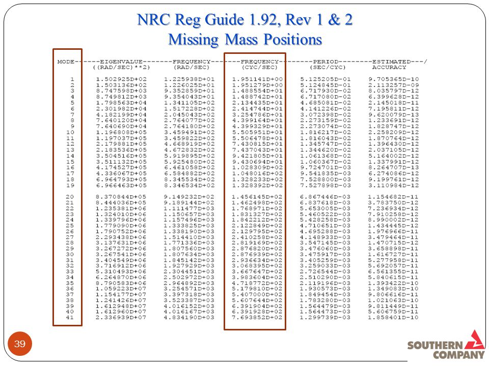 39 NRC Reg Guide 1.92, Rev 1 & 2 Missing Mass Positions NRC Reg Guide 1.92, Rev 1 & 2 Missing Mass Positions